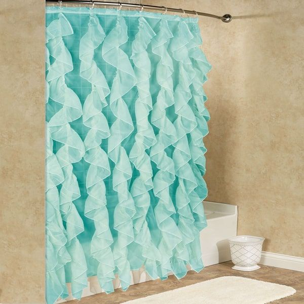 Chic Sheer Voile Vertical Waterfall Ruffled Shower Curtain Regarding Vertical Ruffled Waterfall Valances And Curtain Tiers (Image 5 of 25)