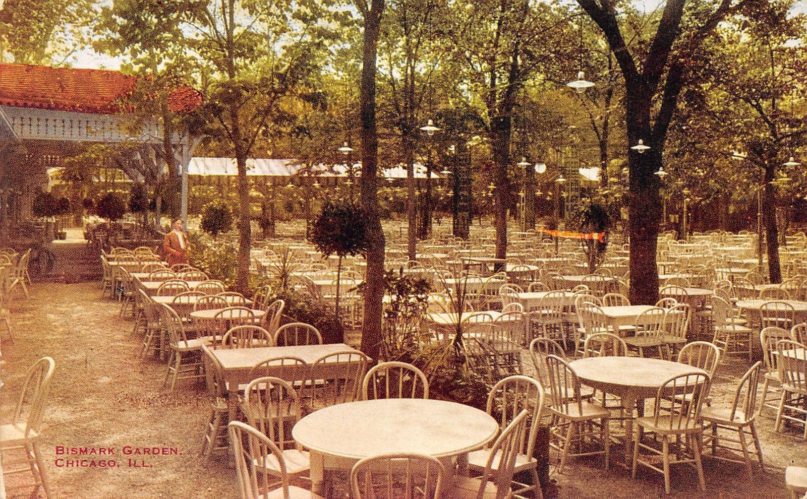 Chicago Illinois~Bismark Garden~Outdoor Dining Tables~1912 With Regard To Current Bismark Dining Tables (View 14 of 25)