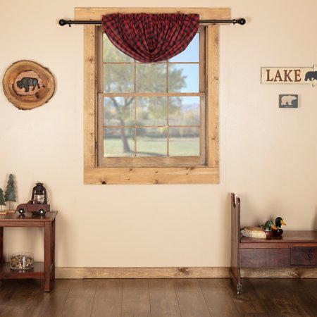 Chili Pepper Red Rustic Kitchen Curtains Shasta Cabin Rod With Regard To Rod Pocket Cotton Linen Blend Solid Color Flax Kitchen Curtains (View 11 of 25)