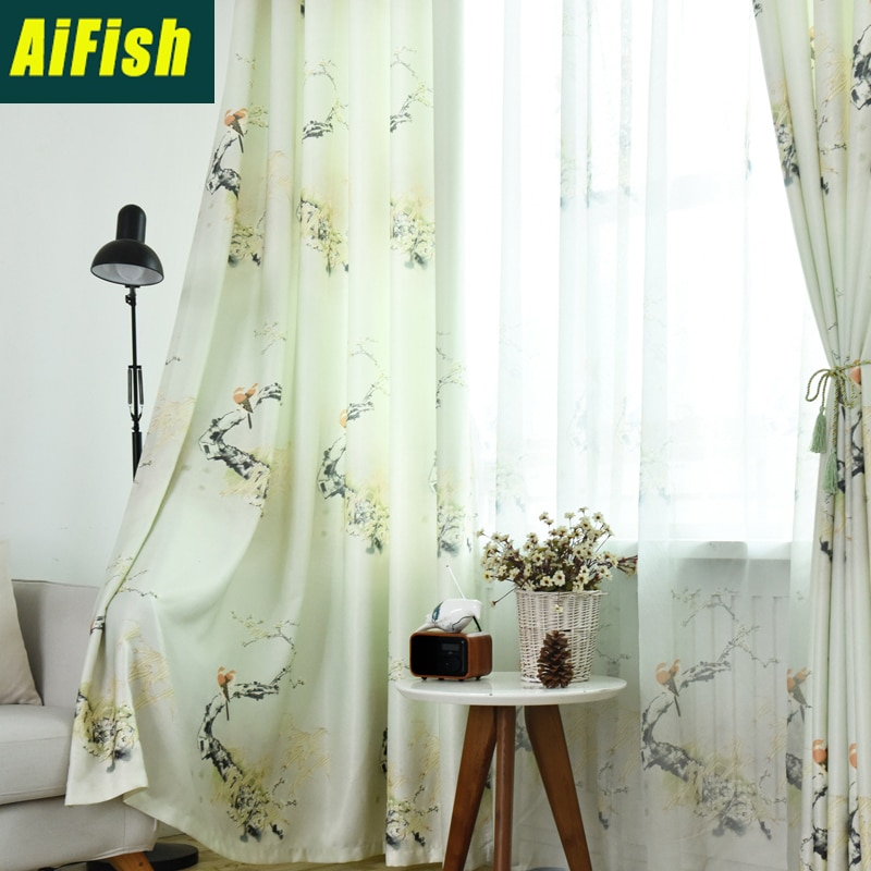 Chinese Garden Bird Cotton Linen Transparent Gauze For Bedroom Living Room Curtain Windows Custom Fabric Decoration Wp164&3 Pertaining To Traditional Tailored Window Curtains With Embroidered Yellow Sunflowers (View 15 of 25)