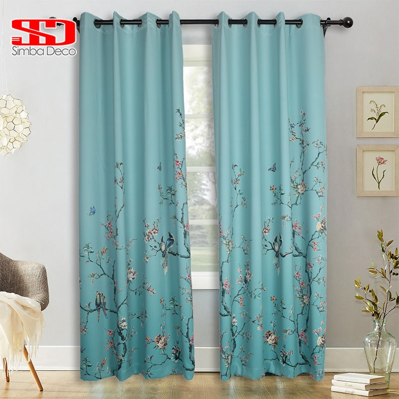 Chinese Gradient Birds Butterfly Blackout Curtains For Living Room Green Printed Drapes For Bedroom Window Treatments Floral Pertaining To Pastel Damask Printed Room Darkening Kitchen Tiers (View 11 of 25)