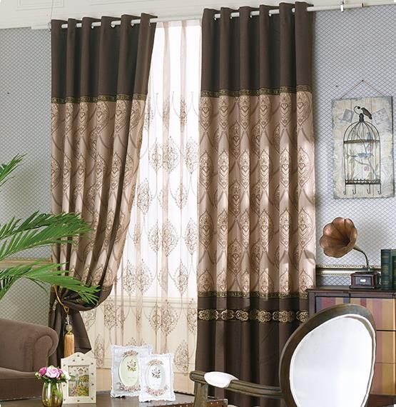 Chocolate Brown Botanical Color Block Jacquard Poly/cotton Within Burgundy Cotton Blend Classic Checkered Decorative Window Curtains (View 15 of 25)