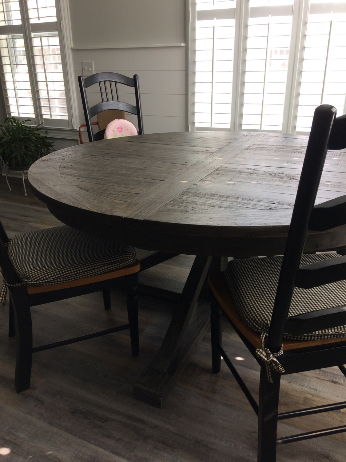 """Cintra Reclaimed Wood Extending Round Dining Table 63"""" For Most Up To Date Black Olive Hart Reclaimed Pedestal Extending Dining Tables (View 11 of 25)"""