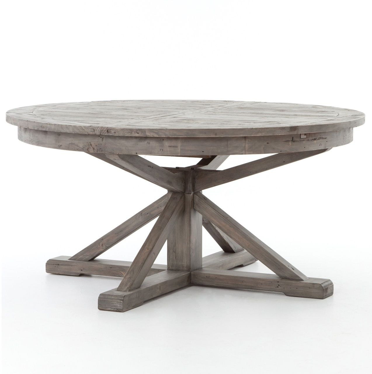 "Cintra Reclaimed Wood Extending Round Dining Table 63"" Gray Regarding Current Gray Wash Benchwright Extending Dining Tables (View 6 of 25)"