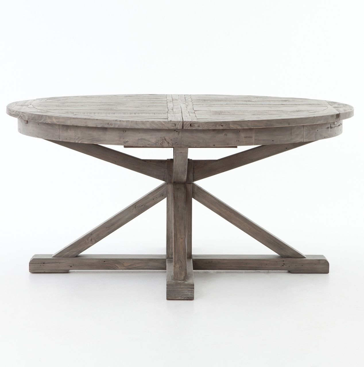 """Cintra Reclaimed Wood Extending Round Dining Table 63"""" In Pertaining To Current Rustic Mahogany Benchwright Pedestal Extending Dining Tables (View 8 of 25)"""
