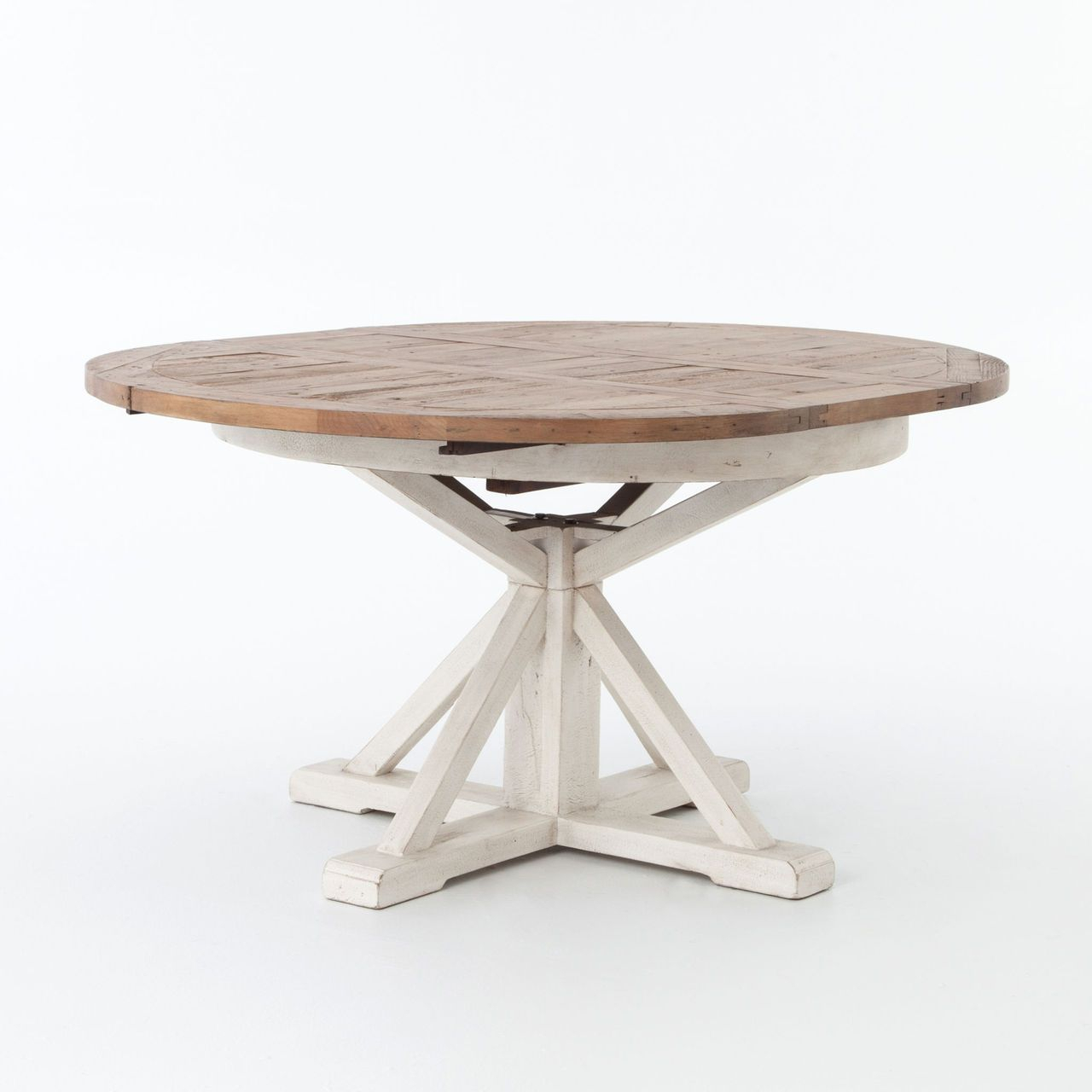 """Cintra White Expandable Round Dining Table 63"""" 