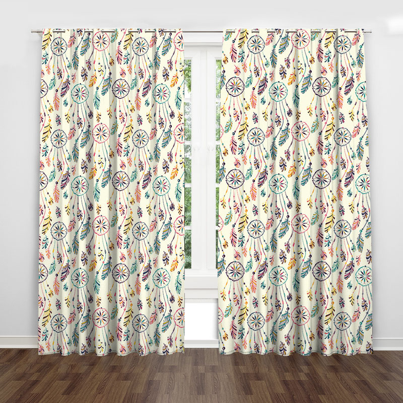 Circle Feather Colorful Country Rustic Curtain Valance Modern Simple Throughout Circle Curtain Valances (View 21 of 25)