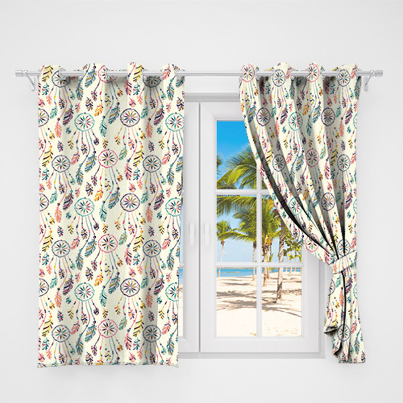 Circle Feather Colorful Country Rustic Curtain Valance Modern Simple With Regard To Circle Curtain Valances (View 9 of 25)