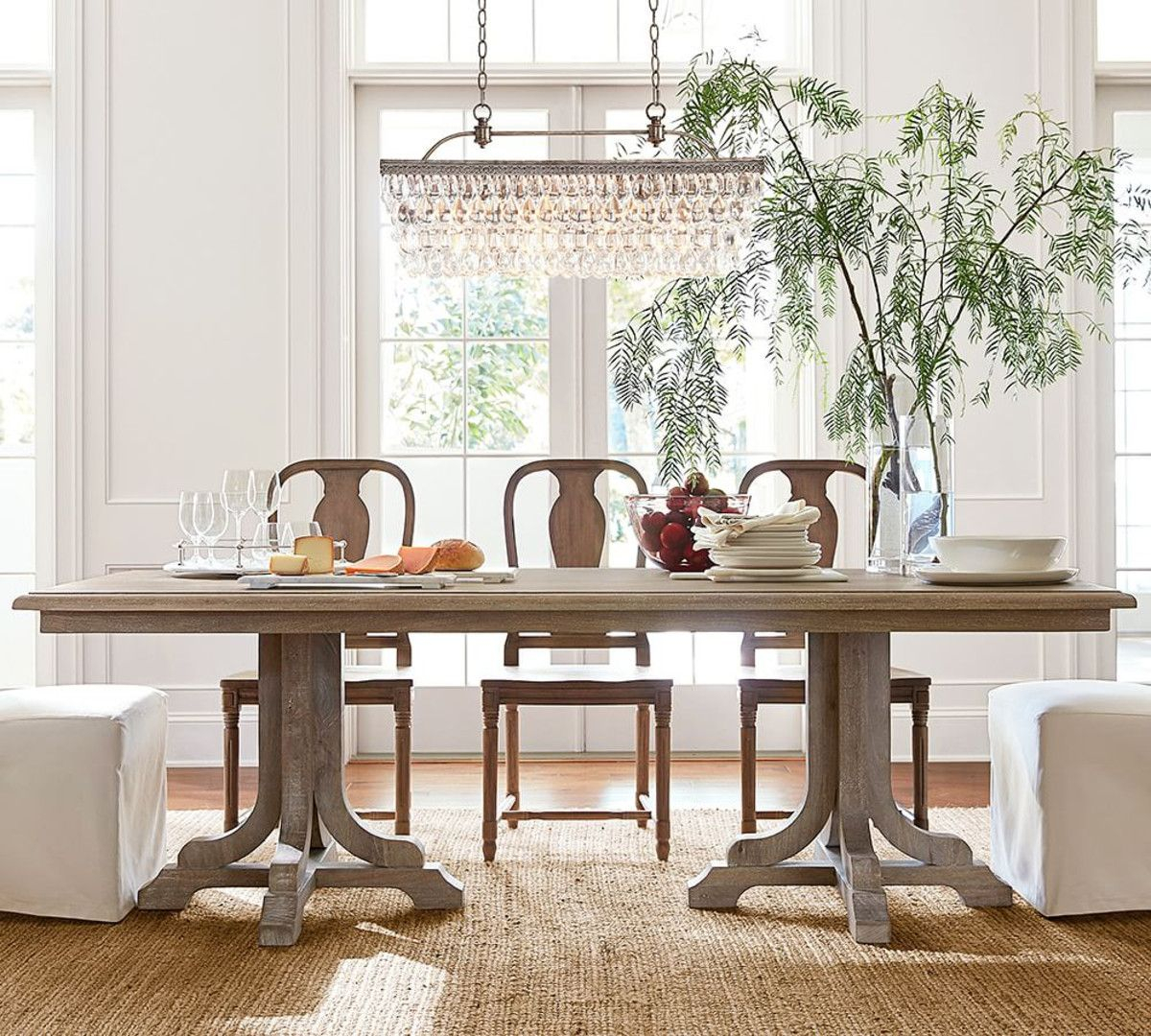 Clarissa Glass Drop Rectangular Chandelier | Home | Dining For Most Recent Seadrift Banks Extending Dining Tables (View 14 of 25)