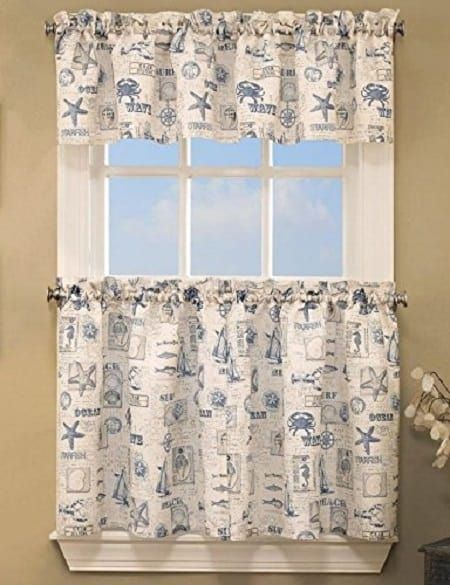 Coastal Kitchen Curtains | Blue Coastalthe Sea Tier Pair Within Tranquility Curtain Tier Pairs (View 2 of 25)