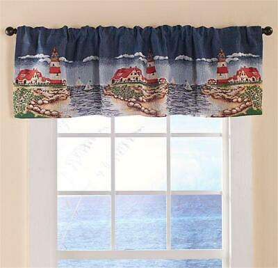 Coastal Lighthouse Sailboat Themed Tapestry Window Curtain Valance | Ebay In Coastal Tier And Valance Window Curtain Sets (Image 6 of 25)