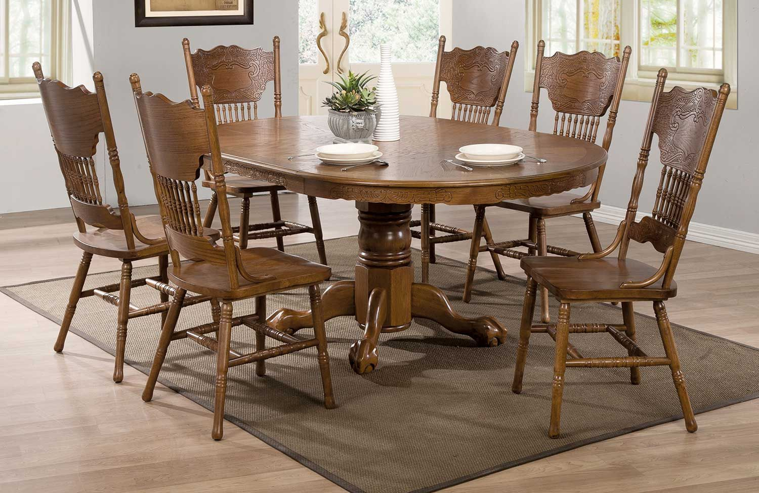 Coaster Brooks Dining Set – Oak | Coaster Dining Set With Regard To Recent Brooks Round Dining Tables (View 2 of 25)