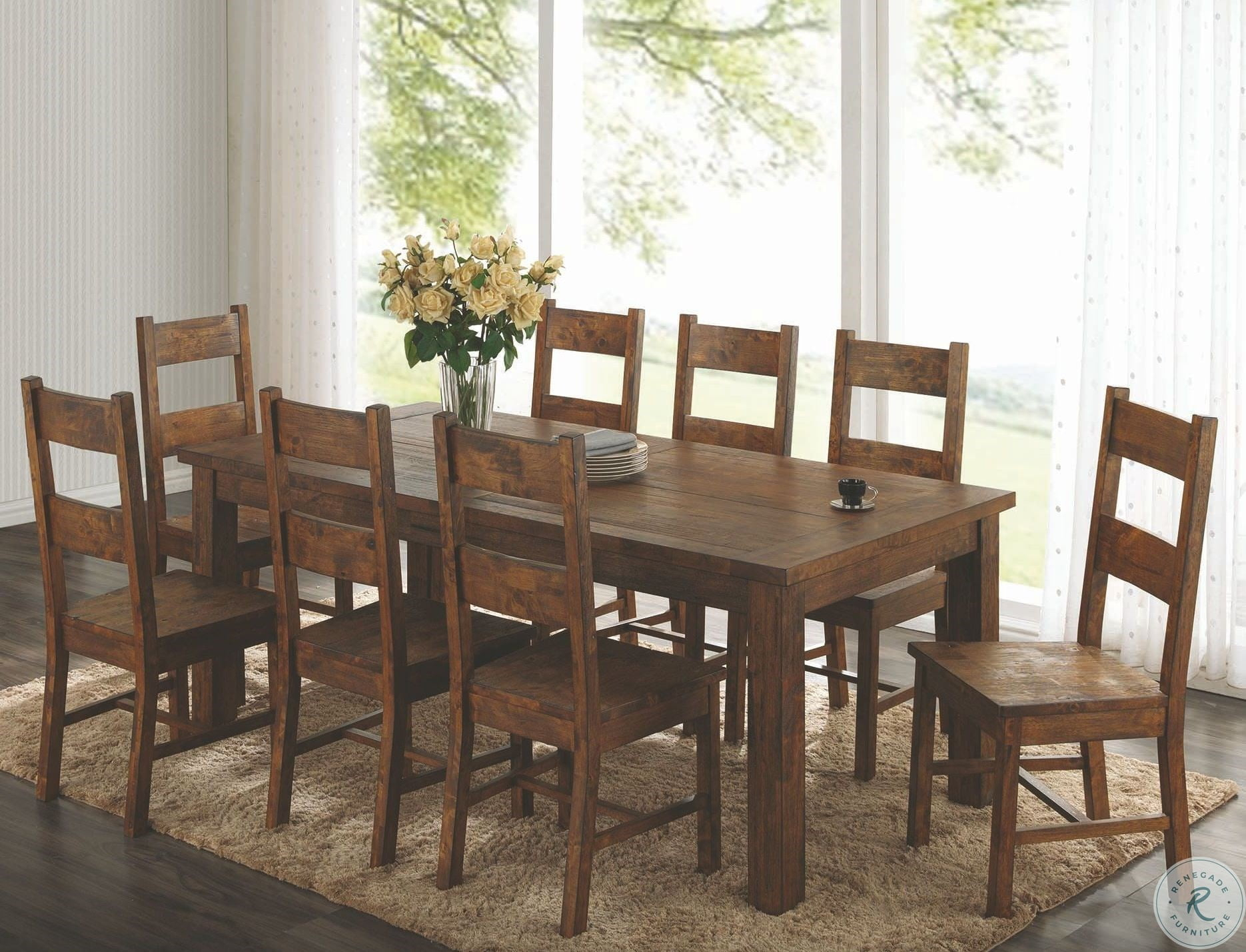 Coleman Rustic Golden Brown Rectangular Dining Table Inside Most Current Brown Wash Livingston Extending Dining Tables (View 21 of 25)