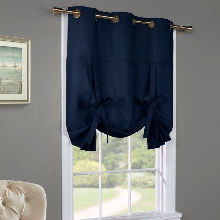 Commonwealth Thermalogic Weathermate Tie Up Curtain Panel With Flinders Forge 24 Inch Tier Pairs In Navy (Image 8 of 25)