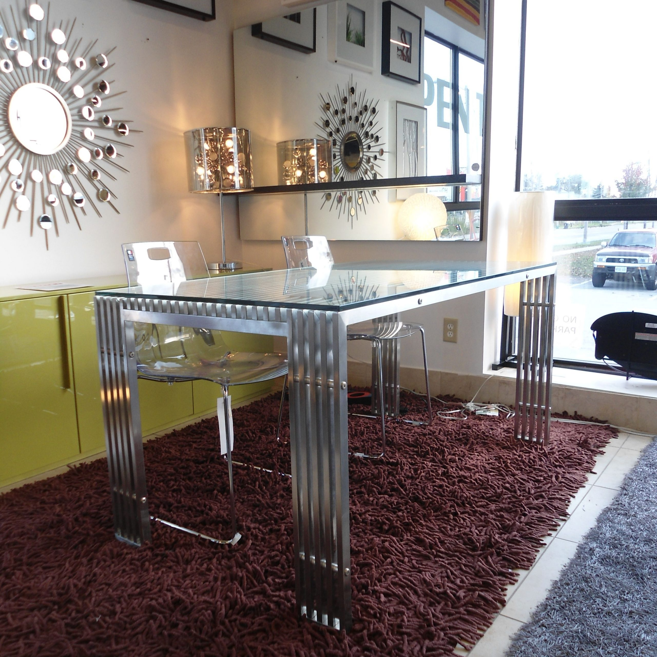 Contemporary Stainless Steel Dining Table With Glass Top With Newest Kipling Rectangular Dining Tables (Image 2 of 25)