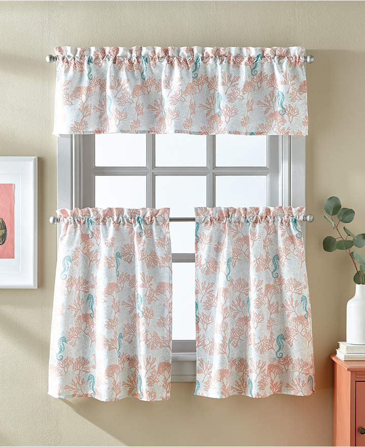 Coral 36 Window Tier Set In 2019 | Products | Valance Regarding Coastal Tier And Valance Window Curtain Sets (Image 8 of 25)
