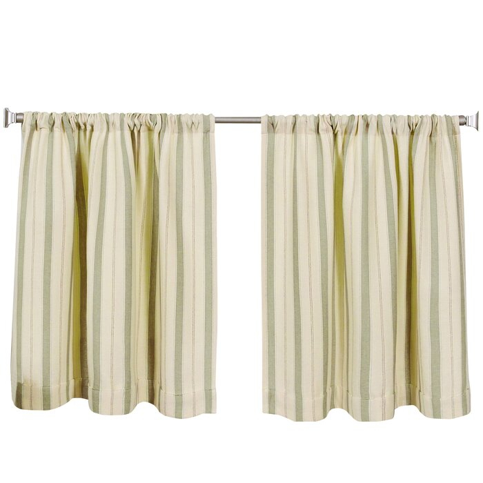 Corazzini Kitchen Tier Set With Linen Stripe Rod Pocket Sheer Kitchen Tier Sets (View 7 of 25)