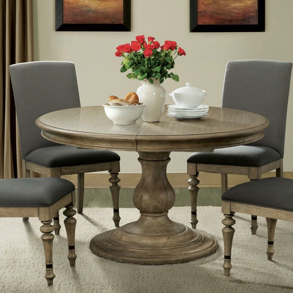 Corinne Wood Round Pedestal Dining Table In Sun Drenched In Recent Rae Round Pedestal Dining Tables (Image 6 of 25)
