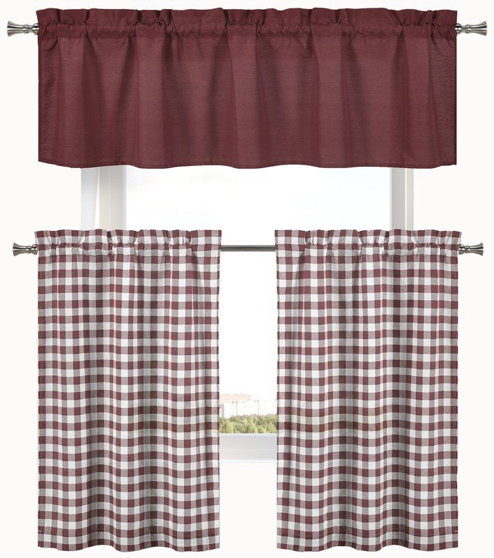 """Cosima 3 Piece Complete Plaid Country 58"""" Kitchen Curtain Pertaining To Traditional Two Piece Tailored Tier And Valance Window Curtains (View 12 of 25)"""