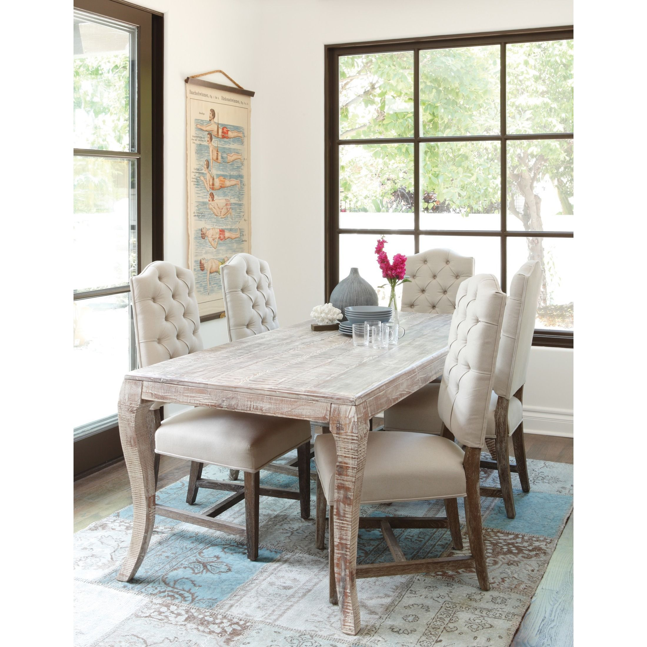 Cosmo Rustic Wood Antique White 72 Inch Dining Table Within Most Recent Brown Wash Livingston Extending Dining Tables (View 12 of 25)