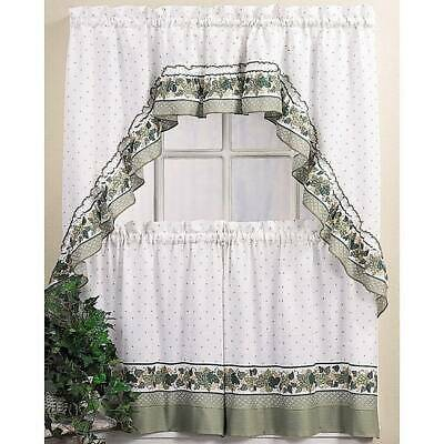 Cottage Ivy 24 Inch Curtain Tier/ Swag Set Green – $ (View 8 of 25)