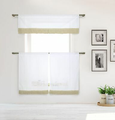 Cotton Shabby Chic White 3 Pc Curtain Set Taupe Pleated Ruffles Valance Tiers 841643148458   Ebay With Pleated Curtain Tiers (View 7 of 25)