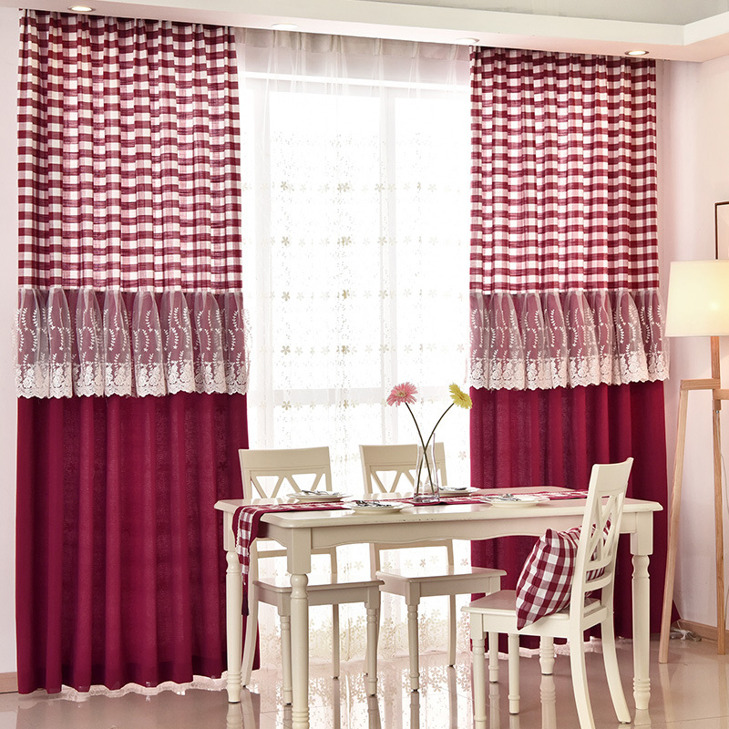 Country Burgundy Red Plaid Buffalo Check Lace Trim Dining Room Curtains With Regard To Burgundy Cotton Blend Classic Checkered Decorative Window Curtains (View 7 of 25)