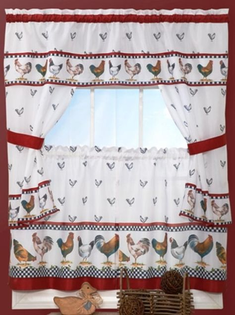 Country Chicken Window Kitchen Curtain Set Valance + 24 Inside 5 Piece Burgundy Embroidered Cabernet Kitchen Curtain Sets (View 17 of 25)