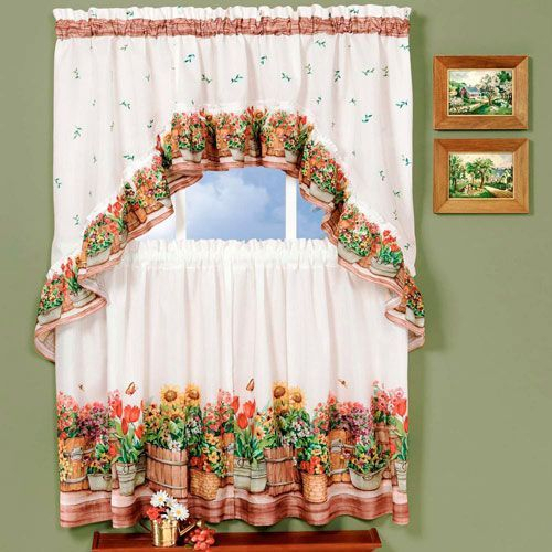 Featured Image of Multicolored Printed Curtain Tier And Swag Sets