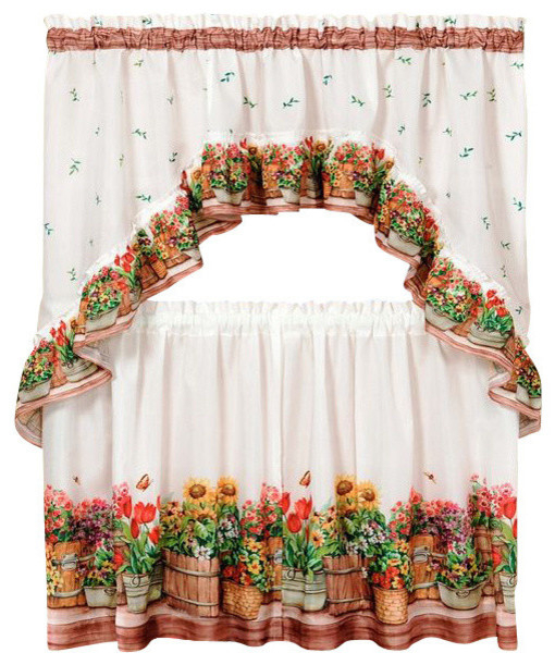 "Country Garden Printed Tier And Swag Set, 57""x24"" Tier Pair/57""x30"" Swag, Multi With Regard To Chardonnay Tier And Swag Kitchen Curtain Sets (View 18 of 25)"