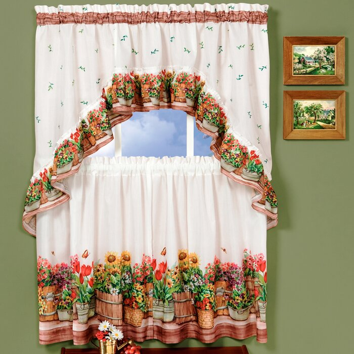 Country Garden Valance And Tier Set Throughout Chateau Wines Cottage Kitchen Curtain Tier And Valance Sets (View 3 of 25)