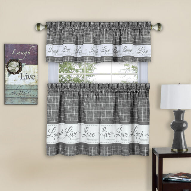 Country Gingham Check Live Laugh Love 3 Piece Café Plaid Kitchen Curtain Set For Wallace Window Kitchen Curtain Tiers (View 13 of 25)