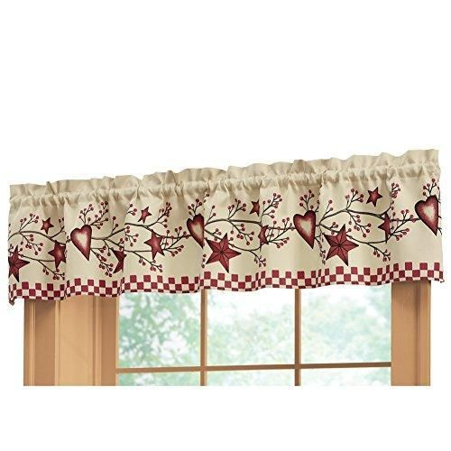 Country Heart Checkered Rod Pocket Window Valance, Red In Throughout Red Primitive Kitchen Curtains (Image 2 of 25)