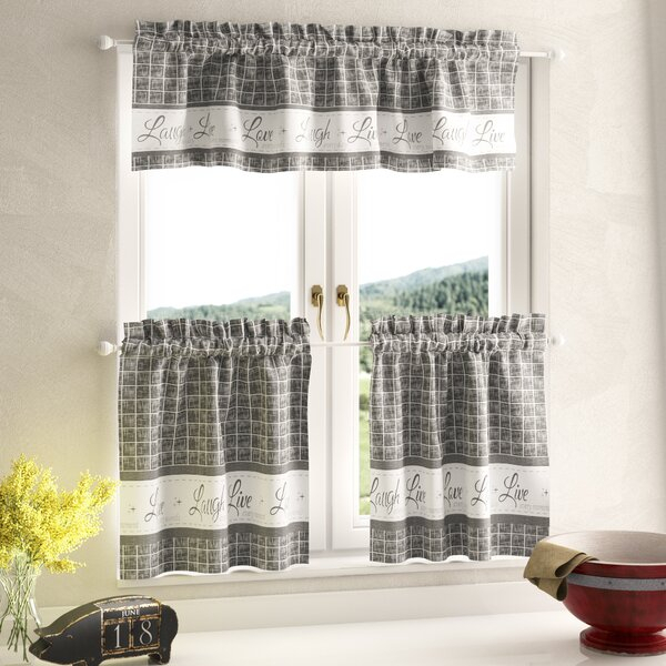 Country Kitchen Valances   Wayfair With Regard To Cotton Blend Grey Kitchen Curtain Tiers (View 19 of 25)