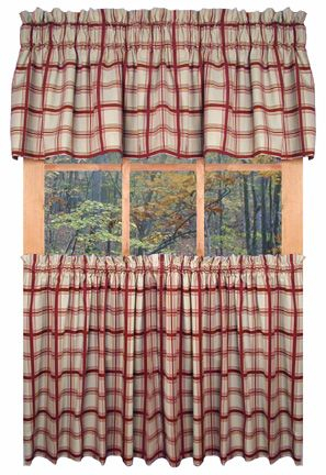 Country Logan Plaid Kitchen Curtains | Country Kitchen | Red With Red Primitive Kitchen Curtains (Image 3 of 25)