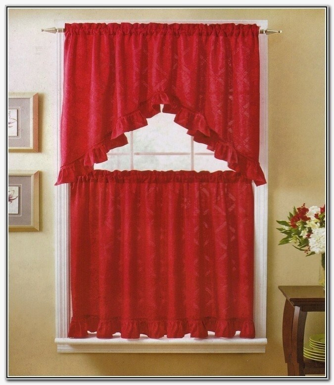 Country Red Kitchen Curtains – Camata (Image 9 of 25)