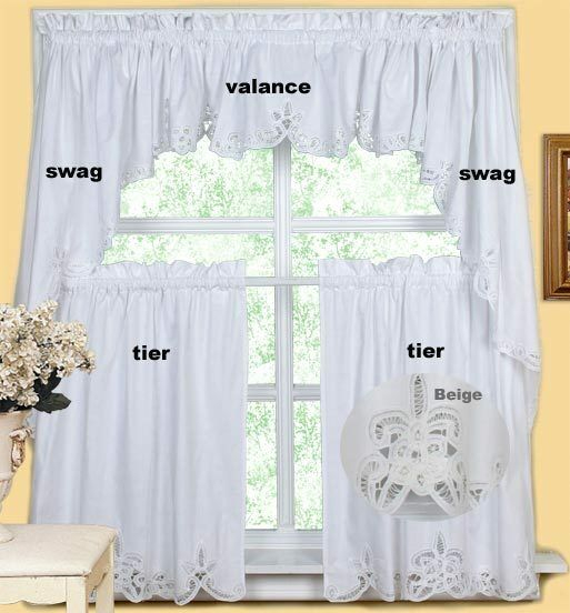 Creative Linens Battenburg Kitchen Curtain Valance Tier Swag White Beige With Chardonnay Tier And Swag Kitchen Curtain Sets (View 7 of 25)