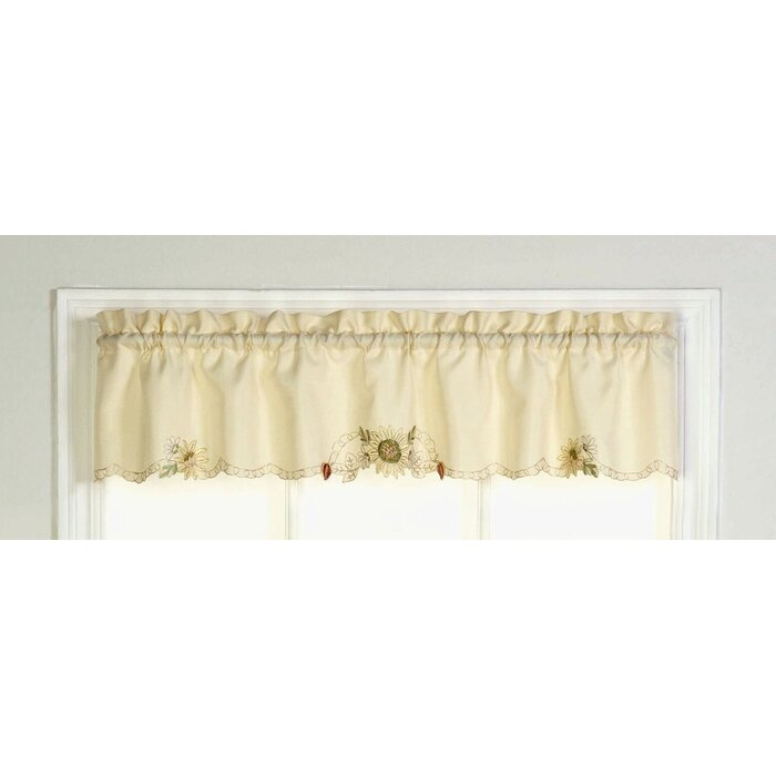 """Cripe Embroidered Sunflower Tailored Kitchen 60"""" Window Valance Within Traditional Tailored Window Curtains With Embroidered Yellow Sunflowers (View 9 of 25)"""