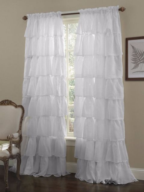 Crushed Voile Sheer Shabby Chic Ruffle Window Curtain Panel White, 60Wx63L Inside Elegant Crushed Voile Ruffle Window Curtain Pieces (View 2 of 25)