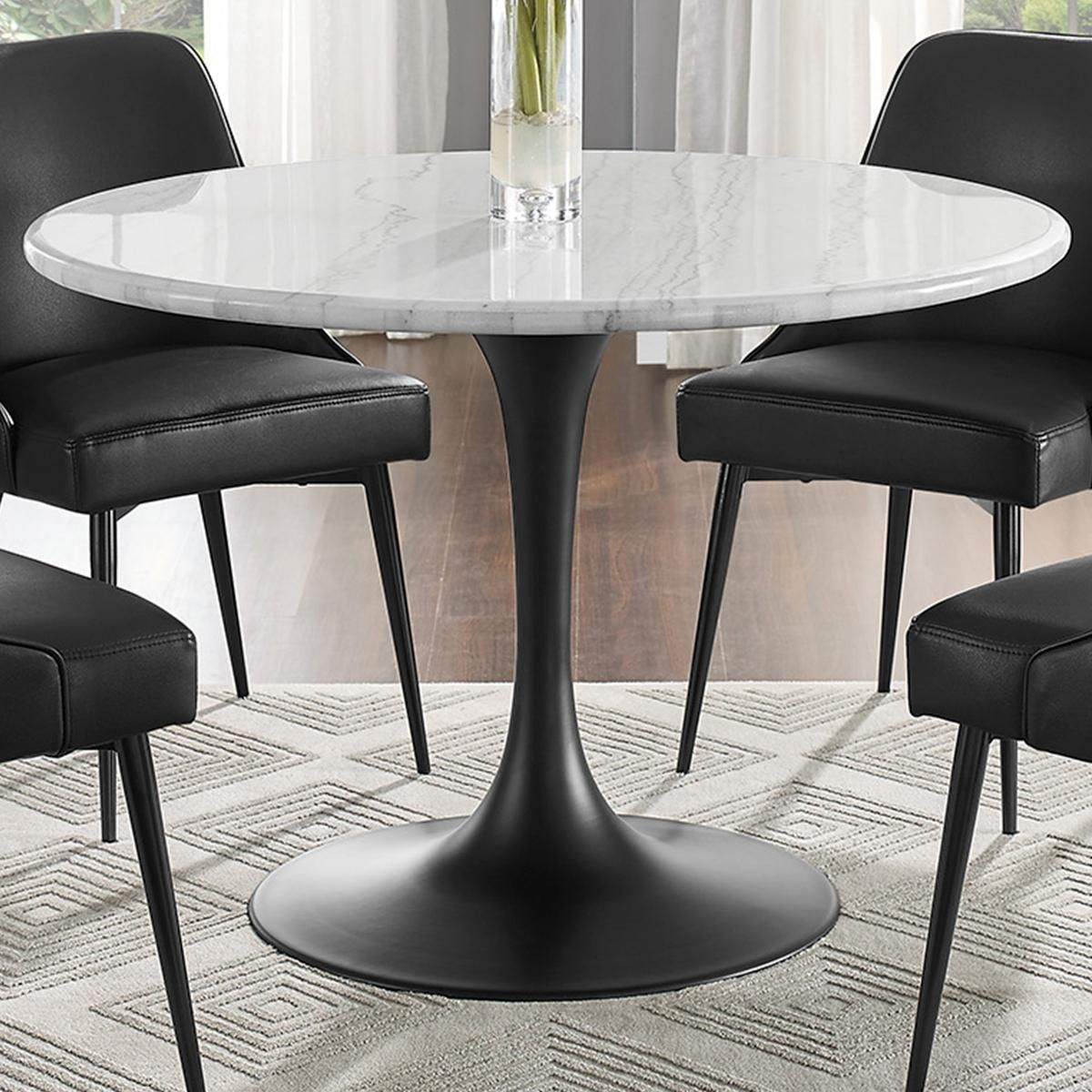 Crystal City Colfax Round Dining Table In Black And White Inside Most Recently Released Chapman Marble Oval Dining Tables (View 7 of 25)