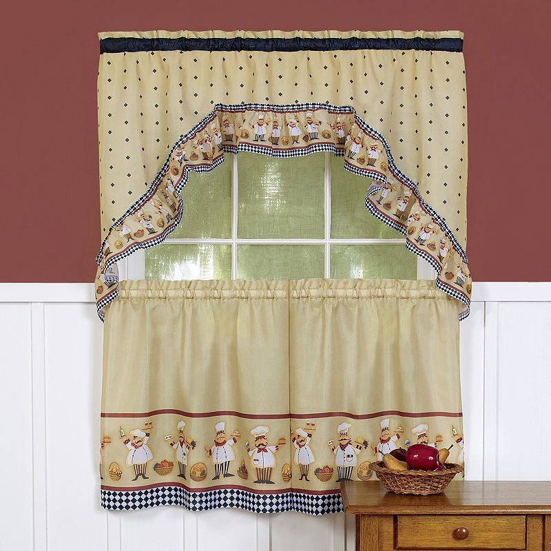 Cucina 3 Piece Swag Tier Kitchen Window Curtain Set With Regard To Chocolate 5 Piece Curtain Tier And Swag Sets (View 22 of 25)
