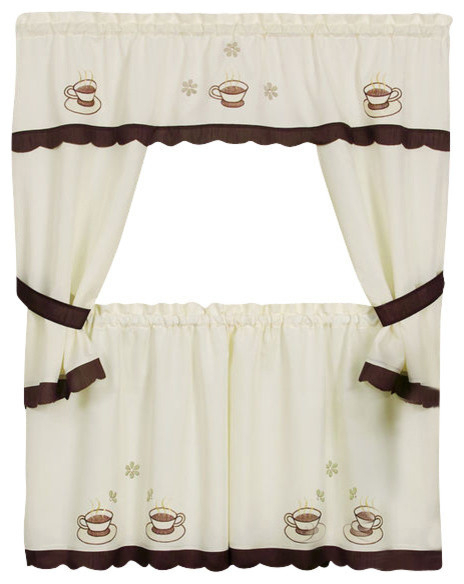 "Cuppa Joe Cottage Curtain Set 58""x36"" Tailored Tier Pair/58""x36"" Tailored Topper Within Tailored Toppers With Valances (View 8 of 25)"
