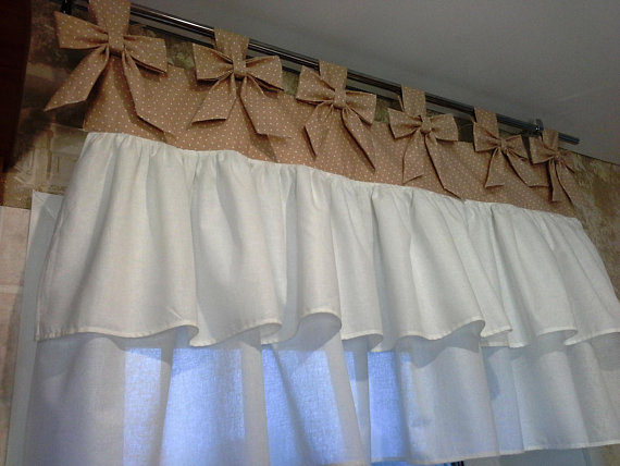 Curtain Polka Dot And White Cotton With Bows And Frills Throughout Rod Pocket Cotton Solid Color Ruched Ruffle Kitchen Curtains (View 5 of 25)