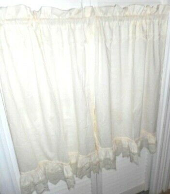 "Curtain Tiers 1 Pair Ivory Trimmed W Lace Ruffled Bottom Length 35"" Single  Rod 
