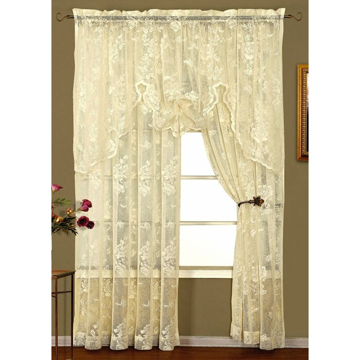 Curtains, Drapes & Valances Knitted Lace Window Curtain With Regard To Marine Life Motif Knitted Lace Window Curtain Pieces (View 6 of 25)