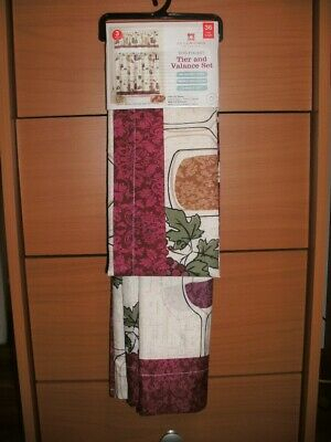 """Curtains Tier And Valance 3 Piece Set, 36"""" Wine Theme For Kitchen 