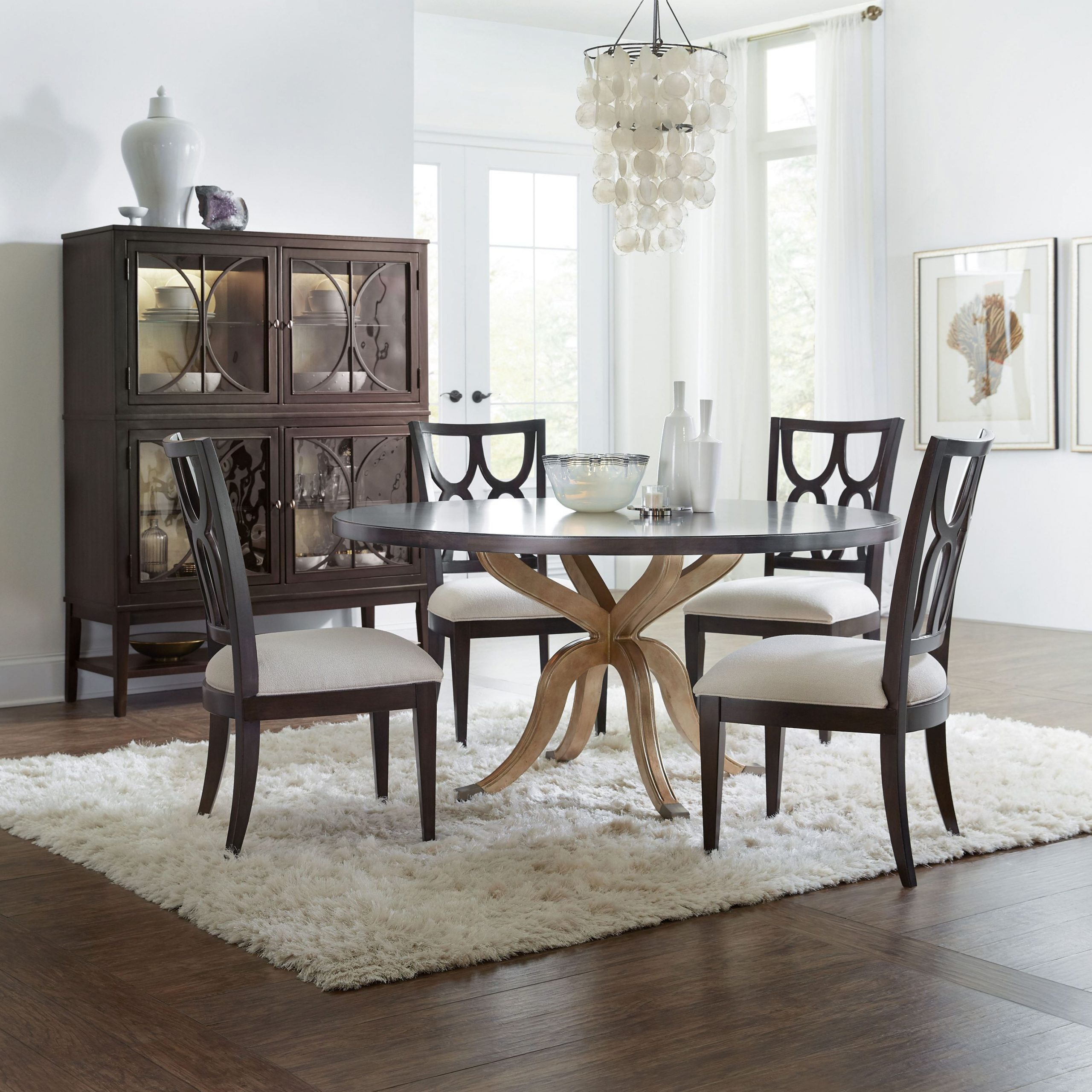 Curvee Gold Pedestal Dining Room Set In Most Popular Weathered Gray Owen Pedestal Extending Dining Tables (View 19 of 25)