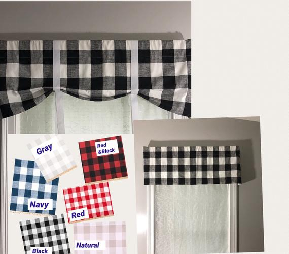 Custom Farmhouse Style Tie Up Valance/ Buffalo Check Country Valance/ Roll  Up Shade With Grosgrain Ribbon Ties/ Pick Your Color Intended For Barnyard Buffalo Check Rooster Window Valances (Image 11 of 25)