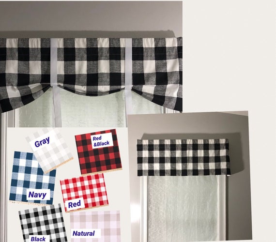 Custom Farmhouse Style Tie Up Valance/ Buffalo Check Country Valance/ Roll Up Shade With Grosgrain Ribbon Ties/ Pick Your Color Regarding Barnyard Buffalo Check Rooster Window Valances (View 15 of 26)