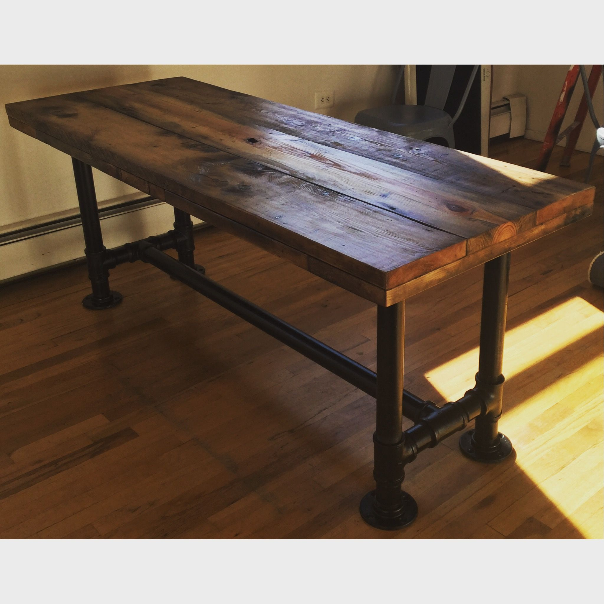 Custom Made Industrial Reclaimed Scaffolding Planks Dining Pertaining To 2017 Griffin Reclaimed Wood Bar Height Tables (View 5 of 25)